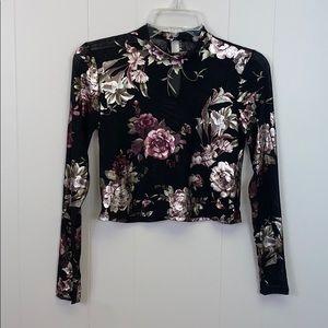 Charlotte Russe floral mesh long sleeve crop top